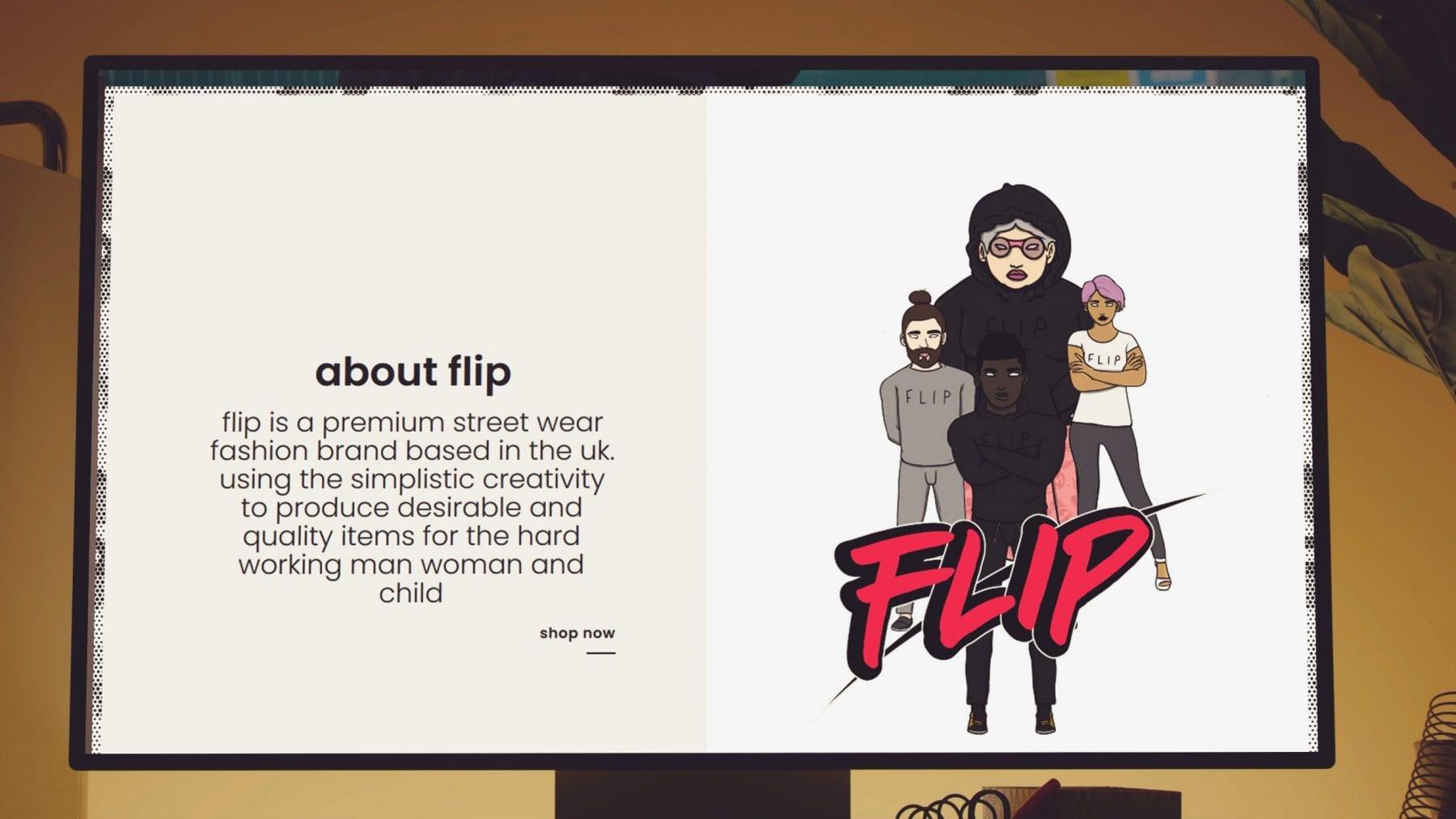 website mockup for Official Flip UK